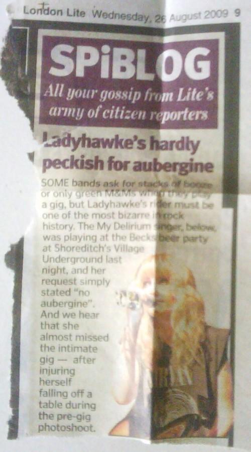 Source: London Lite, 26 August 2009