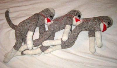 Sock Monkey Human Centipede via Boing Boing